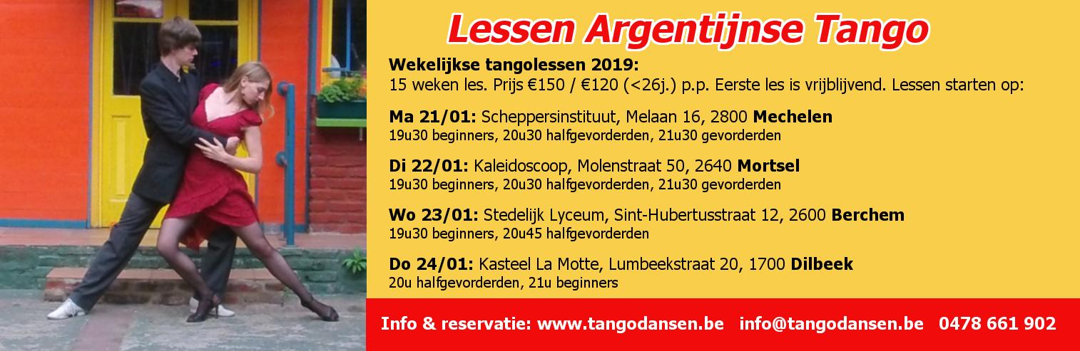 Tangolessen in Mechelen, Mortsel, Antwerpen Berchem & Dilbeek